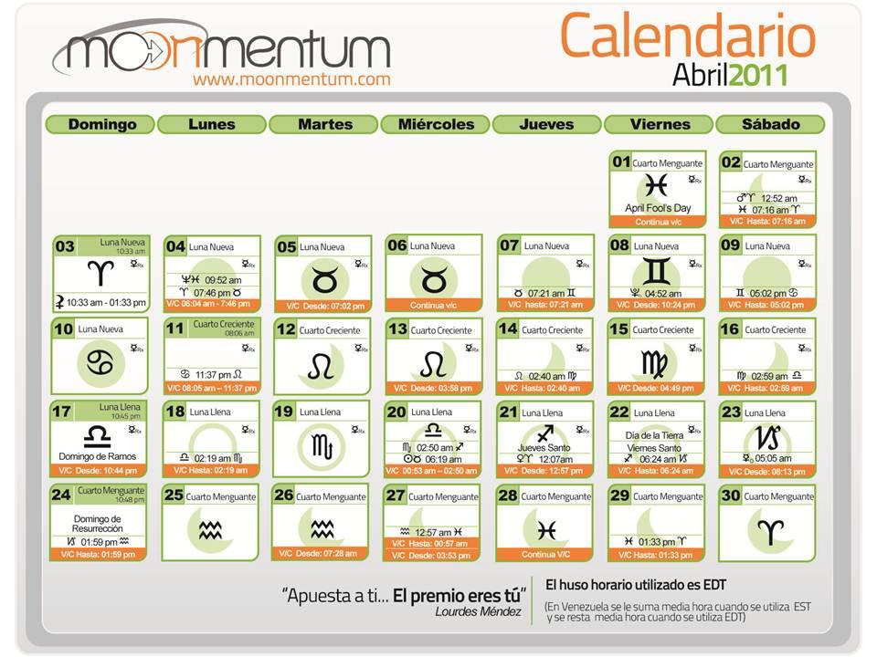 Calendario Abril 2011