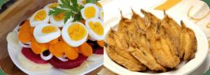 Sardinas rebozadas con ensalada de remolacha