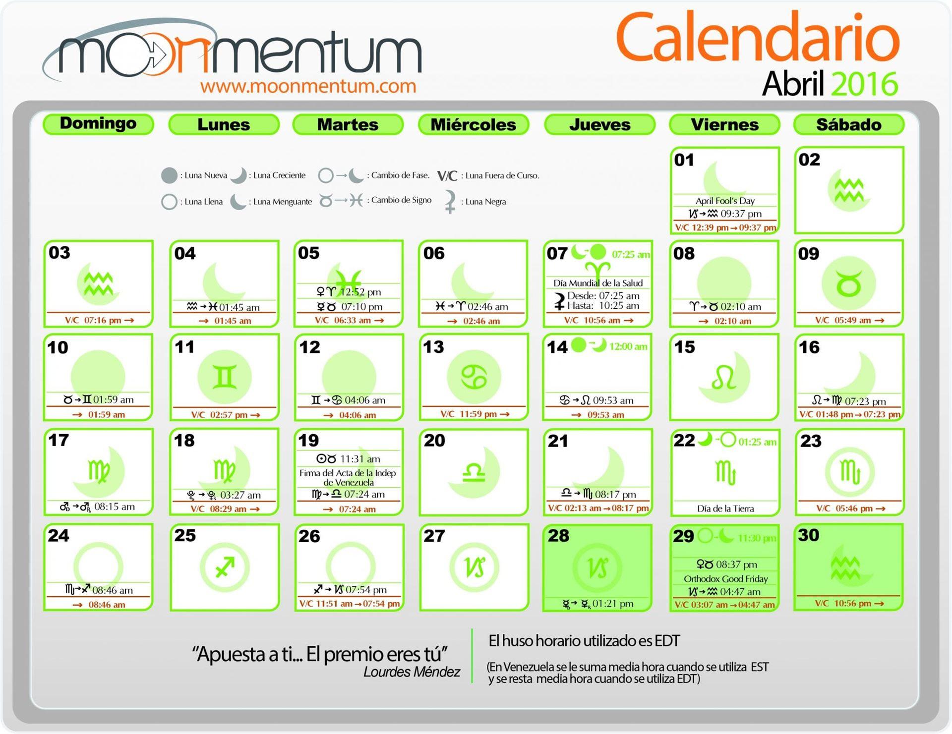 Calendario Abril 2016 Moonmentum