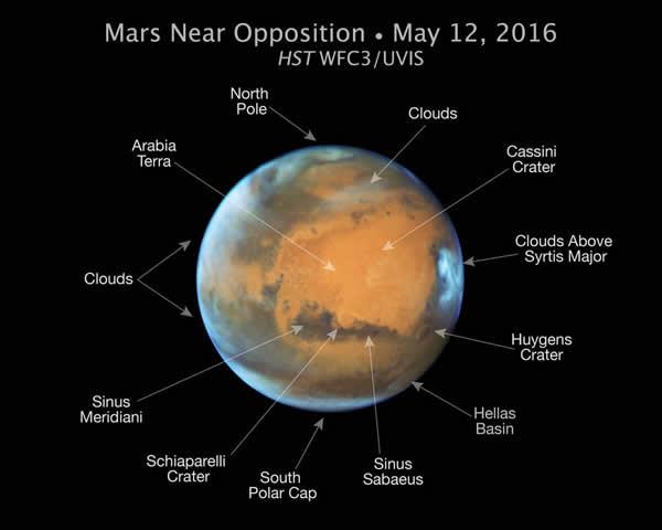 Situación de las principales características de Marte fotografiadas por el Hubble. Image Credit: NASA/ESA/Hubble