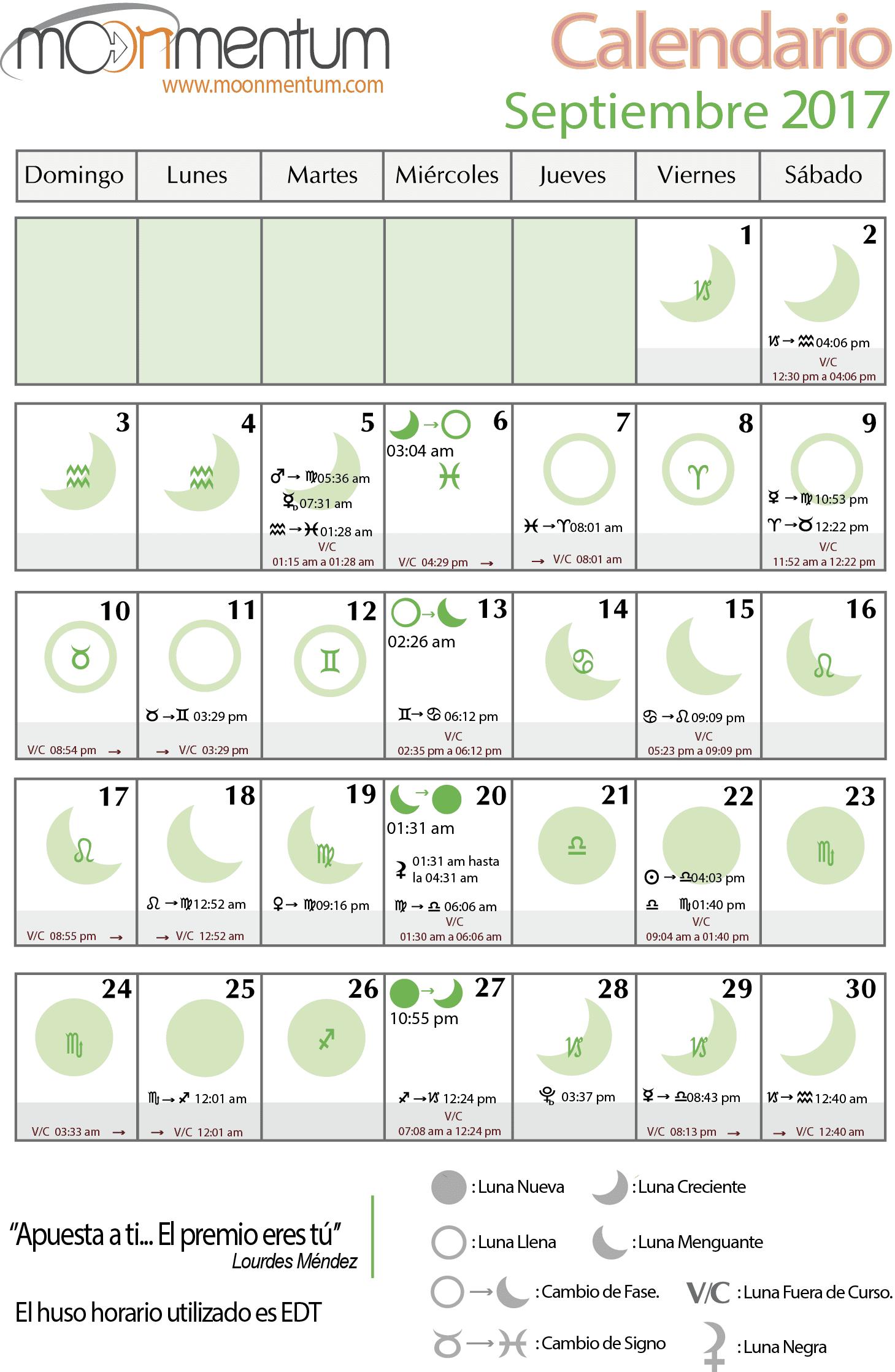 Calendario Zodiacal.Calendario Septiembre 2017 Moonmentum