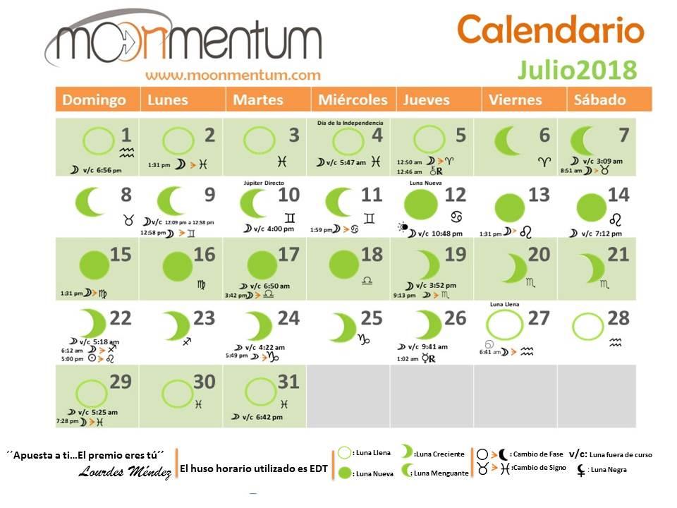 Calendario Zodiacal.Calendario Julio 2018 Moonmentum