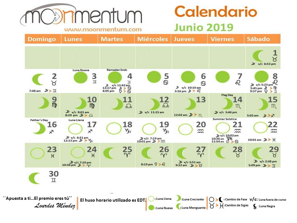 Junio 2019 Calendario.Calendario Astrologico Junio 2019 Moonmentum
